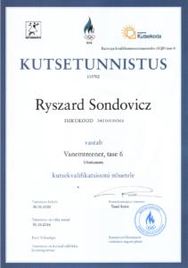Ryzcard-Sondovicz- Kutsetunnistus